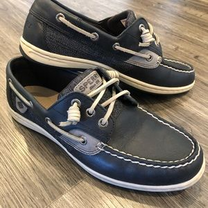 Sperry Navy & Grey Leather Boat Shoe 7.5